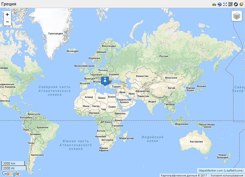 Греция на карте мира
